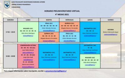 Horario Preuniversitario Virtual.